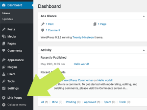 "Once installed, the plugin adds a new ""Link Pages"" section to your WordPress admin."